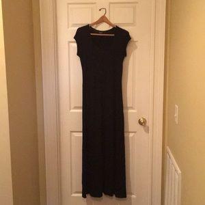 Floor length black short sleeve dress